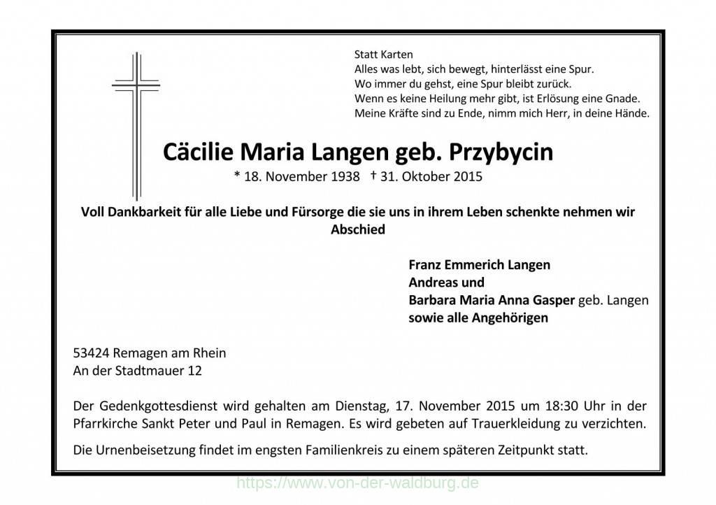 Cäcilie Maria Langen